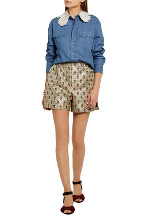 MIU MIU Silk-organza and guipure lace-trimmed denim shirt
