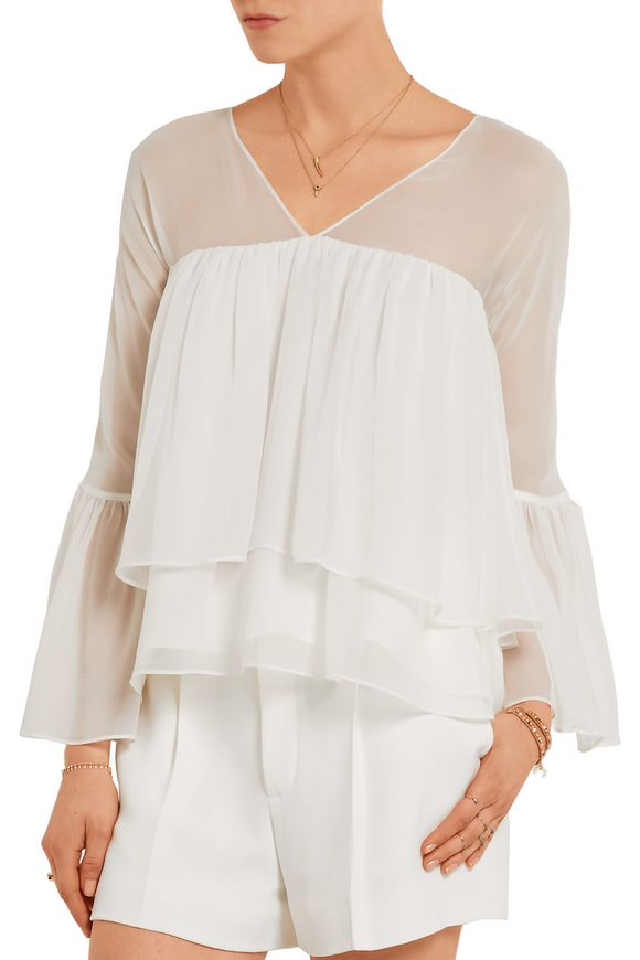 Elizabeth And James Woman Alanis Tiered Silk-chiffon Blouse Ivory Size M Elizabeth & James Outlet Affordable pn2nlYli