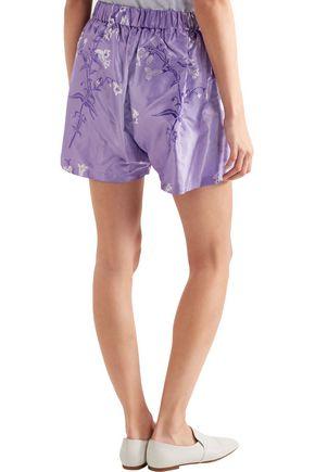 MIU MIU Floral-print silk-jacquard shorts