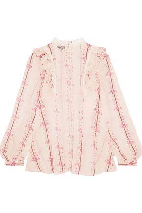 GIAMBATTISTA VALLI Lace-trimmed printed silk-chiffon blouse