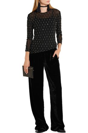 LANVIN Embellished stretch-mesh top