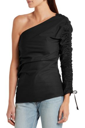 BARBARA CASASOLA Ruched asymmetric cotton-gabardine top