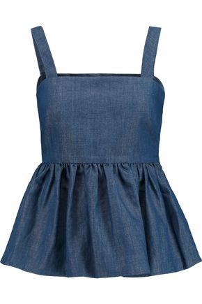 CO Cotton and linen-blend chambray peplum top
