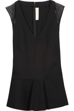 STELLA McCARTNEY Tulle and chain-trimmed pleated piqué top