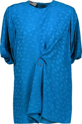 STELLA McCARTNEY Patty draped embellished printed brocade-satin blouse