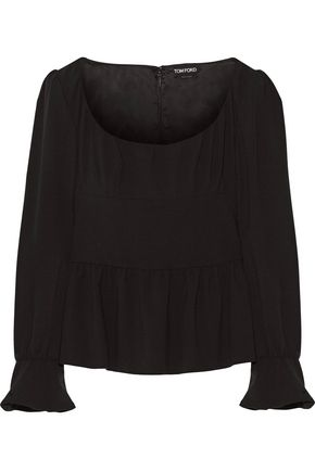 TOM FORD Wool-blend crepe peplum top