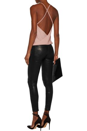 HAUTE HIPPIE Draped open-back modal and crepe top
