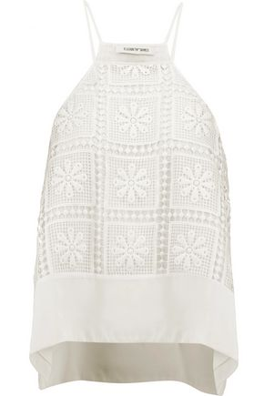 ELIZABETH AND JAMES Kaye silk-trimmed crocheted top