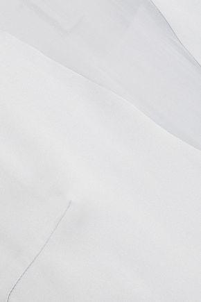 DKNY Chiffon-paneled silk-blend satin top
