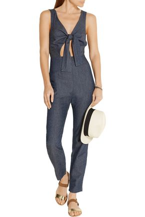 SOLID & STRIPED Cutout silk and cotton-blend jumpsuit