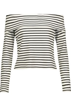 10 CROSBY DEREK LAM Off-the-shoulder striped stretch-jersey top
