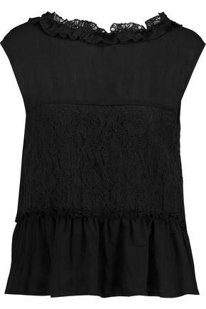 W118 by WALTER BAKER Helen cutout lace-paneled crinkled-cotton top