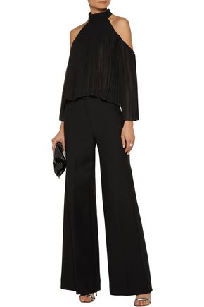 W118 by WALTER BAKER Mila cutout pleated crepe de chine blouse