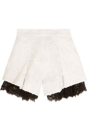 ZIMMERMANN Mischief lace-paneled embroidered linen shorts