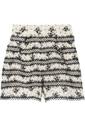 ZIMMERMANN Pleated embroidered corded lace shorts