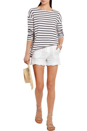 M.I.H JEANS Amas broderie anglaise-trimmed linen and cotton-blend shorts