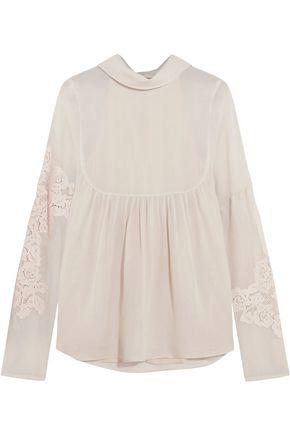 TIBI Anai lace-paneled muslin blouse