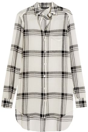 MARISSA WEBB Wesley plaid wool-blend gauze shirt