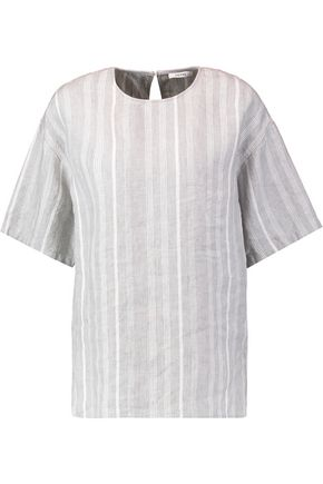 GANNI Striped linen top
