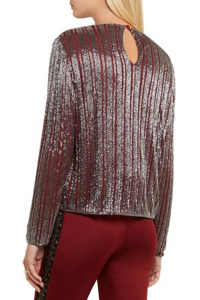 GANNI Humphrey beaded georgette top