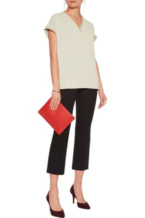 BY MALENE BIRGER Washed silk-trimmed stretch-crepe top