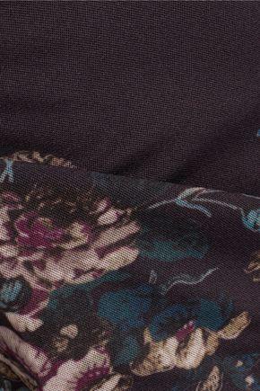 GANNI Printed stretch-twill turtleneck top