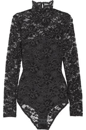 GANNI Two-tone stretch-lace bodysuit