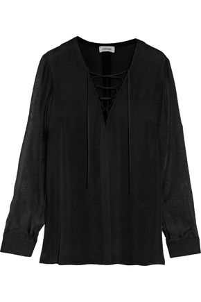 L'AGENCE Ynez lace-up silk-chiffon blouse