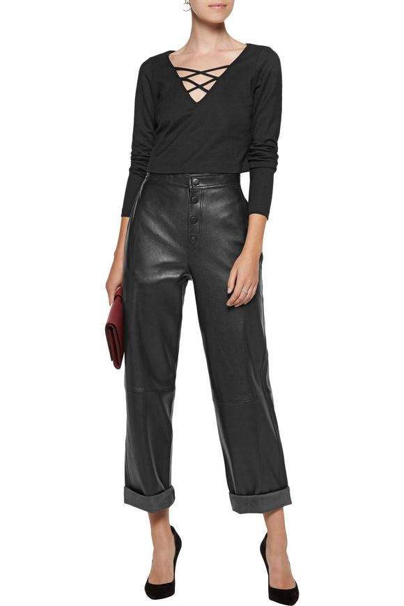 Ava cropped lace-up stretch-ponte top | L'AGENCE | Sale up to 70% off | THE  OUTNET