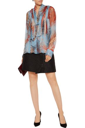 EMILIO PUCCI Pussy-bow pintucked printed silk-chiffon top