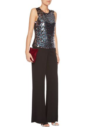 EMILIO PUCCI Sequined tulle and silk-chiffon top