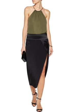 HALSTON HERITAGE Bead-embellished gathered crepe top