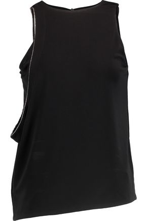 HALSTON HERITAGE Beaded crepe top