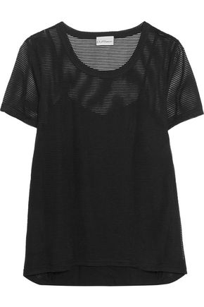 DKNY PURE Striped embroidered tulle T-shirt