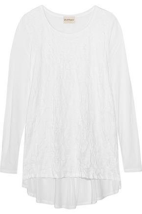 DKNY PURE Paneled crinkled-jersey and modal top