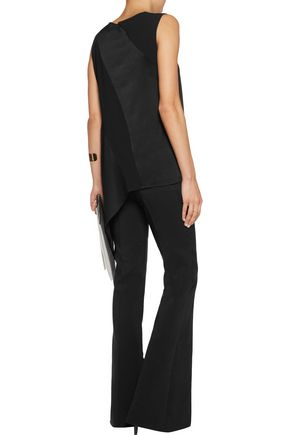 DKNY Asymmetric paneled satin-crepe top