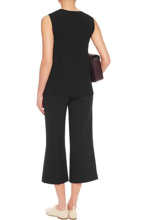 DKNY Stretch-silk chiffon-trimmed crepe top