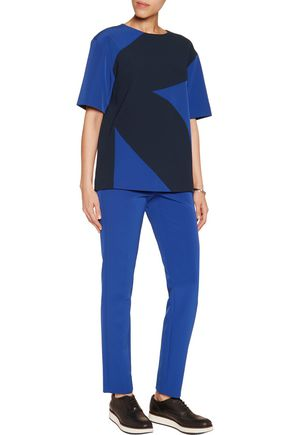 DKNY Paneled two-tone crepe top