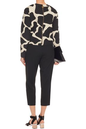 DKNY Two-tone quilted silk-blend top