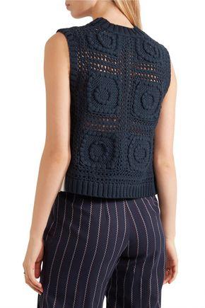 SEA Poplin-paneled crocheted cotton top