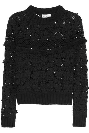 SEA Fringed appliquéd guipure lace top