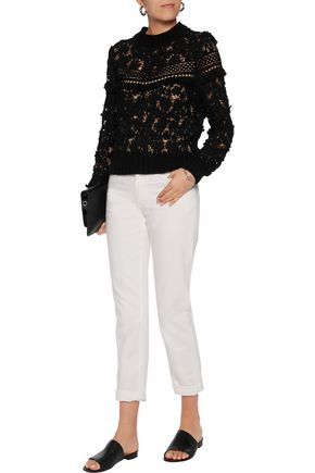 SEA Fringed appliquéd guipure lace top