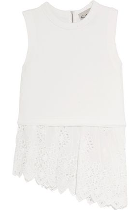 SEA Broderie anglaise voile-paneled cotton-jersey top
