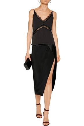 W118 by WALTER BAKER Walker cutout lace-trimmed crepe de chine top