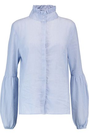 W118 by WALTER BAKER Manny ruffled striped cotton-voile blouse