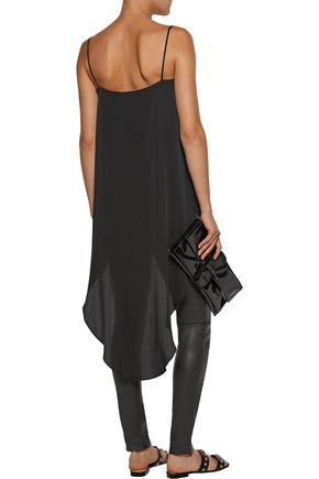 MILLY Cascade asymmetric silk-blend crepe de chine top