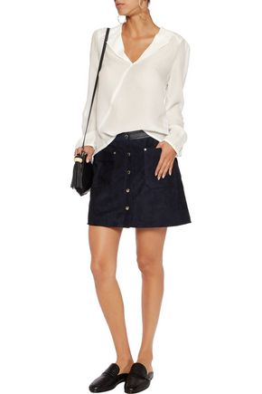 MAJE Cocon wrap-effect textured-silk blouse
