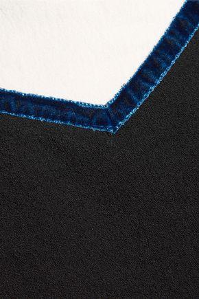 MAJE Velvet-trimmed crepe top