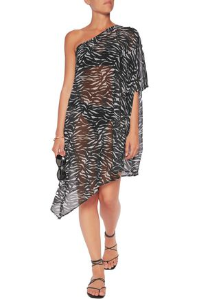 CALVIN KLEIN One-shoulder asymmetric printed chiffon kaftan