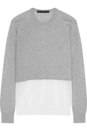 MARC BY MARC JACOBS Papillon crochet knit-paneled marled cotton sweater